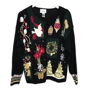 Vintage Ugly Christmas Sweater Cardigan L